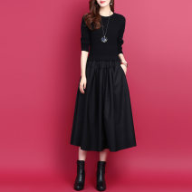 Dress Autumn 2020 Black, red S,M,L,XL,2XL Mid length dress Fake two pieces Long sleeves commute Crew neck Elastic waist Solid color Socket A-line skirt routine Others Type A Korean version Pocket, panel, thread 1 - Supplement 18 51% (inclusive) - 70% (inclusive) other wool
