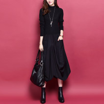 Dress Fall 2017 The upper part is red and the lower part is black. The upper part is black and the lower part is gray. The upper part is brown and the lower part is black S,M,L,XL,2XL Mid length dress Fake two pieces Long sleeves commute Half high collar Elastic waist Solid color Socket Lantern skirt