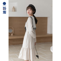 Dress Autumn 2020 Apricot spot apricot presale 8-12 days delivery S M longuette singleton  Long sleeves commute Crew neck High waist Solid color routine 18-24 years old Diyou Korean version DYA1561 More than 95% cotton Cotton 100% Pure e-commerce (online only)
