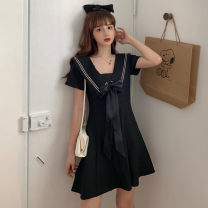 Women's large Spring 2021, summer 2021, autumn 2021 black M(80 - 100) , L(100 - 120) , 1XL(120 - 140) , 2XL ( one hundred and forty - one hundred and sixty ), 3XL ( one hundred and sixty - one hundred and eighty ), 4XL ( one hundred and eighty - two hundred ) Dress singleton  commute easy moderate