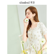 Dress Summer 2021 Beige (10 days in advance) XS S M L Middle-skirt singleton  Short sleeve commute square neck High waist other Socket Big swing routine Others 25-29 years old Xi di Hollow ear button XD10204 More than 95% polyester fiber Polyethylene terephthalate (polyester) 100%