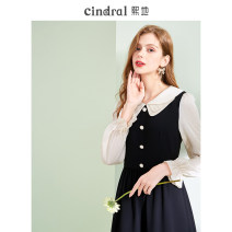 Dress Spring 2021 Black [in stock] XS S M L Middle-skirt singleton  Long sleeves commute Double collar High waist Solid color Socket A-line skirt other Others 25-29 years old Xi di Stitching buttons CD10081 More than 95% polyester fiber Polyethylene terephthalate (polyester) 100%