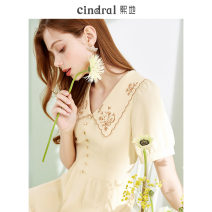 Dress Summer 2021 Yellow (15 days in advance) XS S M L Middle-skirt singleton  Short sleeve commute other High waist Solid color Socket Big swing routine Others 25-29 years old Xi di Embroidered stitching button More than 95% polyester fiber Polyethylene terephthalate (polyester) 100%