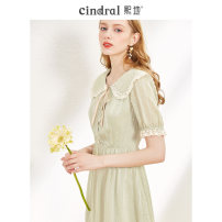 Dress Summer 2020 Green S M L XL Middle-skirt singleton  Short sleeve commute Doll Collar middle-waisted stripe Socket Big swing routine Others 25-29 years old Type X Xi di lady Three dimensional decorative button lace with bow and tuck XD00577 More than 95% polyester fiber