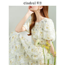 Dress Summer 2021 Yellow (10 days in advance) S M L Mid length dress singleton  Short sleeve commute other High waist Broken flowers Socket Big swing routine Others 25-29 years old Xi di Pleated fold 1XD10343 More than 95% polyester fiber Polyethylene terephthalate (polyester) 100%