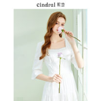 Dress Spring 2021 White [in stock] XS S M L Mid length dress singleton  Long sleeves commute square neck High waist Solid color Socket Big swing shirt sleeve Others 25-29 years old Type X Xi di Cut out stitching button CD10144 More than 95% cotton Cotton 100% Pure e-commerce (online only)