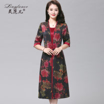 Dress Summer of 2018 Red flowers on a black background black flowers on a red background L XL 2XL 3XL 4XL Mid length dress Fake two pieces elbow sleeve commute Crew neck High waist Decor zipper A-line skirt routine Others 40-49 years old Type A Lingfan Retro LSS1803 More than 95% Silk and satin silk