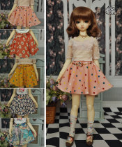 BJD doll zone jacket 1/3 Over 14 years old Customized Pink, red, orange, Navy, big blue flowers 1/4,1/3 M3