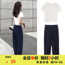 Women's large Summer 2020 White T + pants [two piece suit of showing thin and covering meat] Black T + pants [two piece suit of large size, foreign style] Other oversize styles Two piece set commute Self cultivation moderate Socket Short sleeve Solid color Korean version Crew neck routine other