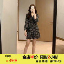 Women's large Spring 2021 Dress Two piece set commute easy moderate Cardigan Long sleeves Solid flower Korean version Crew neck routine Zhenmanzi 18-24 years old Embroidery Short skirt Polyester 100% other Hollowing out