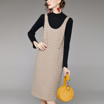 Dress Autumn 2020 Black, apricot S,M,L,XL longuette Two piece set Long sleeves commute V-neck middle-waisted lattice Socket A-line skirt routine Others Type H lady knitting polyester fiber