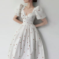 Dress Spring 2021 White Princess Dress S,M,L Mid length dress singleton  Short sleeve commute V-neck High waist Solid color Socket A-line skirt puff sleeve Others 18-24 years old Type A Other / other court X49 91% (inclusive) - 95% (inclusive) other other