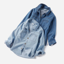shirt neutral Warren land / Cheng paradise spring and autumn Long sleeve leisure time Solid color cotton Lapel and pointed collar Cotton 100% 01CC007 Chinese Mainland Code 110, code 120, code 130, code 140, code 150, code 160 Light denim, dark denim