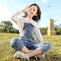 suit Youmi house Blue pants + shirt 120cm 130cm 140cm 150cm 160cm 170cm female spring and autumn leisure time Long sleeve + pants 2 pieces routine There are models in the real shooting Single breasted nothing other children Expression of love YMW-20037 Class C Other 100% Spring 2020