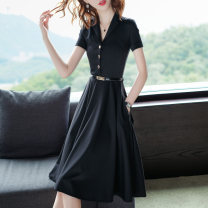 Dress Summer of 2018 black S M L XL XXL Mid length dress singleton  Short sleeve commute tailored collar middle-waisted Solid color Three buttons A-line skirt routine 30-34 years old Type A Sugenry / sugenry Ol style Pocket button zipper 51% (inclusive) - 70% (inclusive) nylon