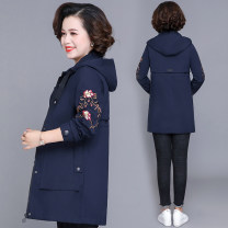Middle aged and old women's wear Autumn of 2019 Red, green, navy blue, orange, skin pink, lake blue, brick red leisure time Jacket / jacket easy singleton  Flower and bird pattern 40-49 years old Cardigan moderate Hood Long (length 70-100cm) routine SLWP-8002 Shuyanis Embroidery polyester zipper
