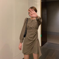 Women's large Autumn 2020 Black, card It is suggested that the size of the recommended size is 120-40kg, and it is recommended to use the size of 120-40kg Dress singleton  Self cultivation moderate Conjoined Long sleeves 18-24 years old Short skirt