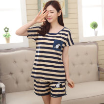 Pajamas / housewear set female Other / other cotton Short sleeve Cartoon pajamas summer Thin money Crew neck Cartoon animation shorts Socket youth 2 pieces rubber string More than 95% pure cotton printing 200g and below
