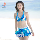 Bikini Sanqi Green 40, blue 50 M,XXL,L,XL Skirt bikini Steel strap breast pad Polyester, others, nylon, spandex