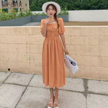Dress Summer 2020 Orange blue black S M L longuette singleton  elbow sleeve square neck High waist puff sleeve 25-29 years old Yifan fold More than 95% polyester fiber Polyester 100% Pure e-commerce (online only)