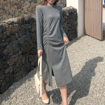 Dress Spring 2021 Black flower grey S M L XL XXL Mid length dress singleton  Long sleeves commute Crew neck High waist Solid color Socket routine 25-29 years old Yifan Korean version Tuck and split YF17B2416 More than 95% cotton Cotton 97% polyurethane elastic fiber (spandex) 3%