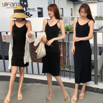 Dress Summer 2020 S M L XL XXL longuette singleton  Sleeveless commute V-neck middle-waisted Solid color Socket camisole 25-29 years old Yifan Korean version YF17B1891 More than 95% cotton Cotton 97% polyurethane elastic fiber (spandex) 3% Pure e-commerce (online only)