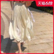 skirt Solid color Bing moon summer None_ seven thousand and seventy-nine Medium length Korean version Apricot M L XL XXL