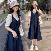 Dress Bing moon Denim skirt + top denim skirt piece M L XL XXL Versatile Short sleeve have more cash than can be accounted for summer Crew neck Solid color Denim 0221#