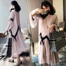 Dress Bing moon Colocasia dress + Black underpants Colocasia dress M L XL XXL Korean version Long sleeves Medium length spring Crew neck Solid color Chiffon B826979