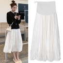 skirt routine Korean version M L XL XXL Four seasons Bing moon Apricot skirt black top Solid color Pure cotton (95% and above)