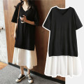 Dress Bing moon Skirt + black safety pants skirt + skin color safety pants skirt + white safety Pants Black M L XL XXL Korean version Short sleeve Medium length summer V-neck Solid color cotton N-627