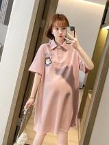 Dress Bing moon Korean version Short sleeve Medium length summer Lapel cotton 03-2021324 White pink One size fits all