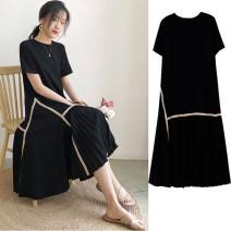 Dress Bing moon M L XL XXL Korean version Short sleeve Medium length summer Crew neck Solid color Pure cotton (95% and above)