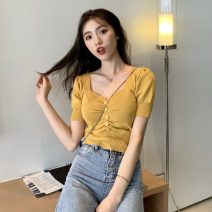 T-shirt Average size Spring 2021 Short sleeve V-neck Self cultivation have cash less than that is registered in the accounts puff sleeve commute Viscose 51% (inclusive) - 70% (inclusive) 18-24 years old Korean version originality Solid color Other / other Pleats, buttons