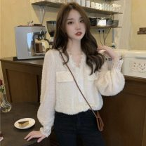 Lace / Chiffon Winter 2020 Apricot, black Average size Long sleeves commute Socket singleton  Straight cylinder Regular V-neck Solid color routine 18-24 years old Other / other 1206j Lace Korean version 30% and below