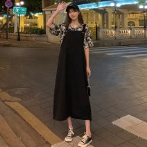 Dress Summer 2021 Khaki, black Average size Mid length dress singleton  Sleeveless commute Loose waist Solid color Socket A-line skirt straps 18-24 years old Type A Other / other Korean version W0415 30% and below other