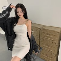 Dress Spring 2021 Gray, white, black, khaki, rose, pink Average size Short skirt singleton  Sleeveless commute High waist Solid color Socket A-line skirt 18-24 years old Type A Other / other Korean version 0311Y 31% (inclusive) - 50% (inclusive)