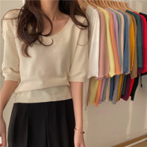T-shirt Apricot, gray, white, purple, red, green, camel, black, turmeric, pink, haze blue, goose yellow, orange, taro purple, mint green, oatmeal Average size Spring 2021 Short sleeve V-neck Straight cylinder Regular commute other 30% and below 18-24 years old Korean version Other / other 0316L