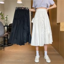 skirt Spring 2021 S,M,L White, black Mid length dress commute High waist Irregular Solid color Type A 18-24 years old W0401 30% and below other Other / other Button Korean version
