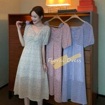 Dress Summer 2021 Apricot, purple, pink Average size Mid length dress singleton  Short sleeve commute V-neck High waist Broken flowers Socket A-line skirt Others 18-24 years old Type A Other / other Korean version 0414Y 31% (inclusive) - 50% (inclusive)