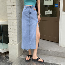 skirt Summer 2021 S,M,L blue Mid length dress commute High waist Denim skirt Solid color Type A 18-24 years old 0415T 31% (inclusive) - 50% (inclusive) other Other / other Korean version