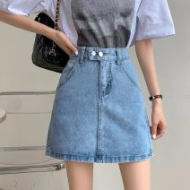 skirt Summer 2021 S,M,L,XL White, black, denim blue Short skirt commute High waist A-line skirt Solid color Type A 18-24 years old W0413 30% and below other Other / other Korean version