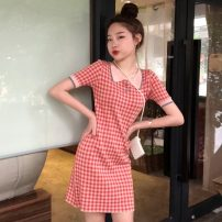 Dress Spring 2021 Picture color Average size Short skirt singleton  Short sleeve commute High waist lattice Socket A-line skirt routine Others 18-24 years old Type A Other / other Korean version 31% (inclusive) - 50% (inclusive) other