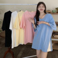 T-shirt White, blue, yellow, black, pink Average size Summer 2021 Short sleeve V-neck easy Medium length commute other 30% and below 18-24 years old Korean version Other / other 0410L