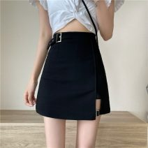 skirt Summer 2021 S,M,L,XL black Short skirt commute High waist Irregular Solid color Type A 18-24 years old W0418 30% and below other Other / other other Korean version