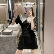 Dress Summer 2021 Glamour black M, L Short skirt singleton  Short sleeve commute Doll Collar High waist Solid color Socket A-line skirt puff sleeve 18-24 years old Type A Other / other Korean version W0415 30% and below other