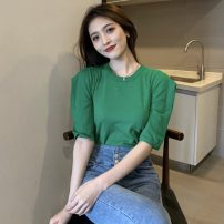 T-shirt green Average size Spring 2021 Short sleeve Crew neck easy Regular puff sleeve commute other 30% and below 18-24 years old Korean version Solid color Other / other W0403