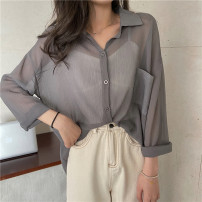 shirt Apricot, purple, green, champagne, pink, light grey, dark grey, coffee Average size Spring 2021 other 30% and below Long sleeves commute Medium length Polo collar 18-24 years old Straight cylinder Other / other Korean version 0308L