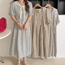 Dress Summer 2021 Sky blue floral dress, blue floral dress, green floral dress, white shawl Average size Mid length dress Two piece set Short sleeve commute Crew neck High waist Broken flowers Others 18-24 years old Other / other Korean version 0413L 30% and below other
