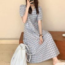 Dress Spring 2021 Blue, green Average size Mid length dress singleton  Short sleeve commute V-neck High waist lattice Socket A-line skirt puff sleeve 18-24 years old Type A Other / other Korean version W0320 30% and below other